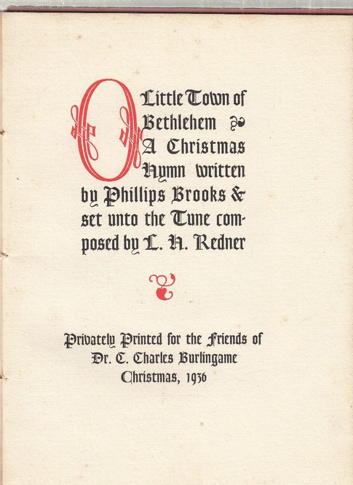 O Little Town Of Bethlehem: A Christmas Hymn written by Phillips Brooks & set unto the Tune composed by L.H. Redner. Phillips Brooks, L H. Redner.