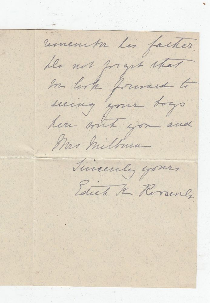 Autograph letter signed by First Lady Edith Kermit Roosevelt. Edith Kermit Roosevelt.