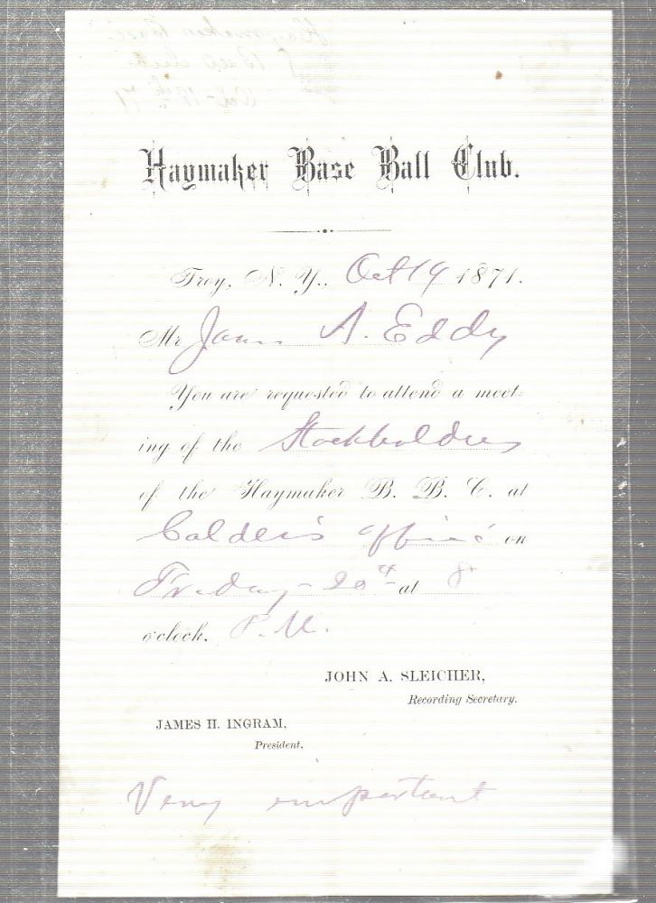 """1871 Troy """"Haymakers"""" BaseBall Club Document from the First Year of the National Association (the First Professional Baseball League). BASEBALL."""