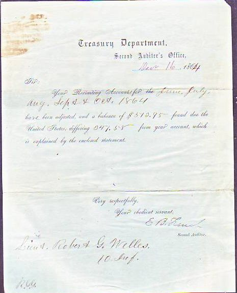 Treasury Department Auditor's Document for Civil War Recruiting Account dated 1864. CIVIL WAR.
