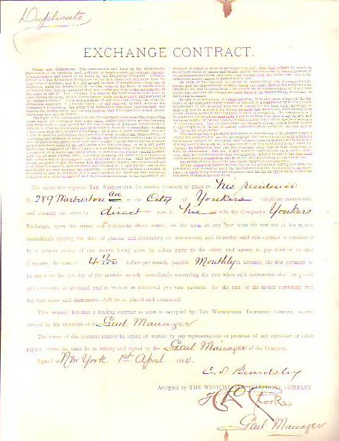 Early Telephone Customer Contract dated 1884 at Yonkers, Westchester County, NY. TELEPHONE.