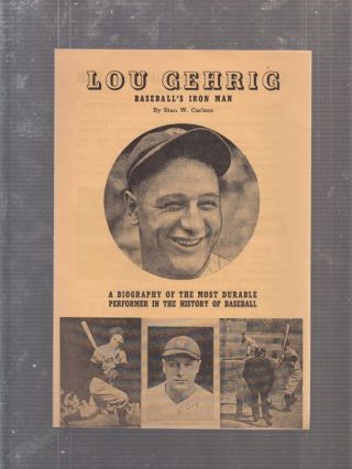 Lou Gehrig: Baseball's Iron Man promotional advertising mailer. Stan W. Carlson