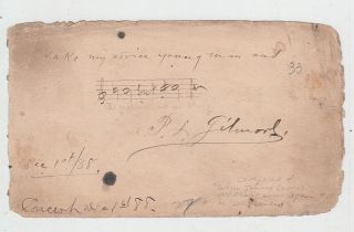"Autographed album page with musical quotation ""B natural but B sharp"" (composer of ""When Johnny..."