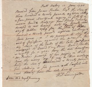 Handwritten document signed by William Livingston, Signer of United States Constitution. William...