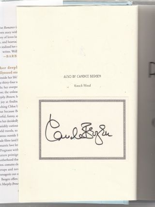 A Fine Romance (signed first edition). Candice Bergen