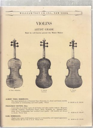 (Musical Instrument catalogue) William Voit Co. Importers of Musical Instruments Wholesale Catalogue for 1930