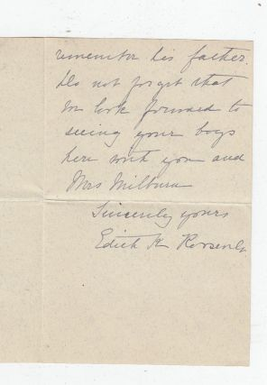 Autograph letter signed by First Lady Edith Kermit Roosevelt. Edith Kermit Roosevelt