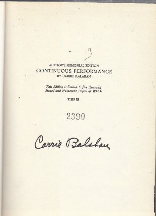 Continuous Performance: Biography of A.J. Balaban (signed limted edition)