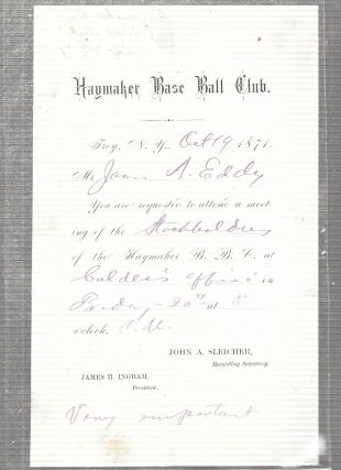 "1871 Troy ""Haymakers"" BaseBall Club Document from the First Year of the National Association (the..."