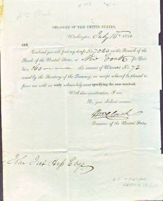 Document Signed , Dated 1828, by William Clark, Treasurer of the United States. William Clark